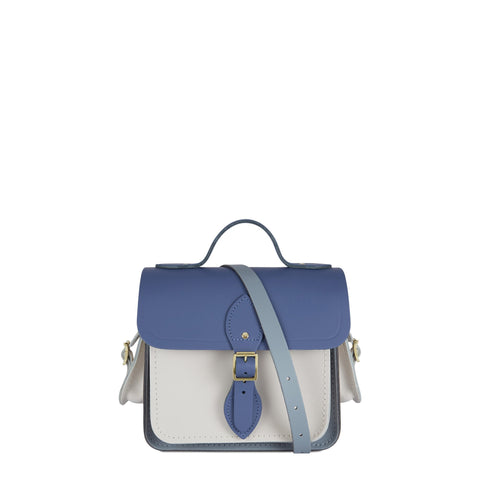 Traveller Bag with Side Pockets in Leather - Italian Blue Matte, French Grey & Clay