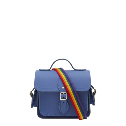 Traveller Bag with Side Pockets in Leather - Italian Blue Matte with Rainbow Webbing Strap