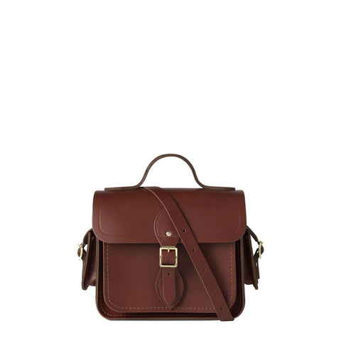 Traveller Bag with Side Pockets in Leather - Brandy