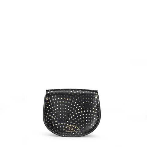Mini Tassel Bag in Leather - Gold Star Haze Print On Black