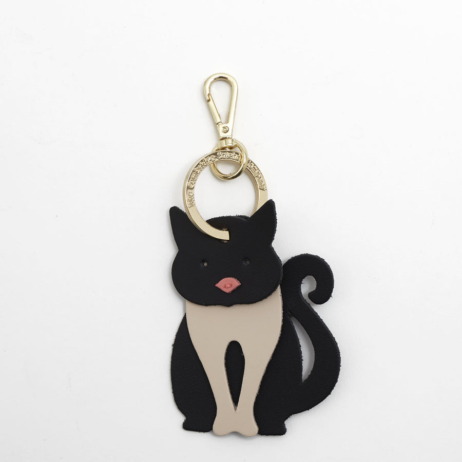 Obi the Cat Charm in Leather - Black, Clay & Hot Rose Matte