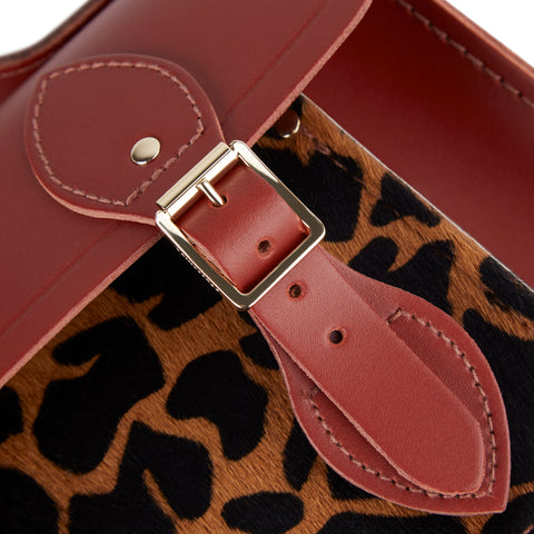 11 Inch Magnetic Batchel in Leather - Brandy & Giraffe Haircalf