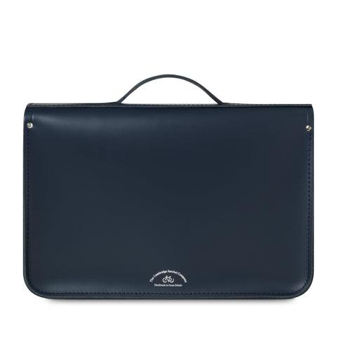 15 Inch Classic Batchel in Leather - Navy