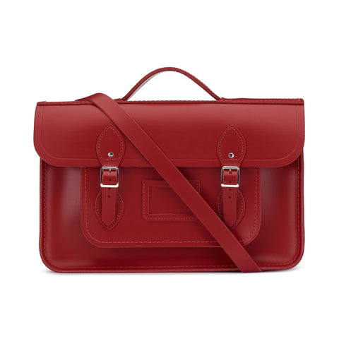 15 Inch Classic Batchel in Leather - Red