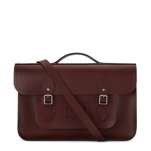 15 Inch Classic Batchel in Saffiano Leather - Oxblood Saffiano