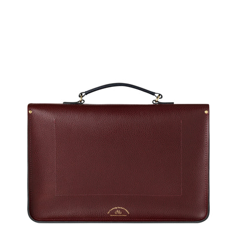 QEST Large Briefcase in Grain Leather - Oxblood & Navy