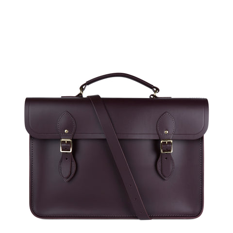 Large Briefcase in Leather - Juniper