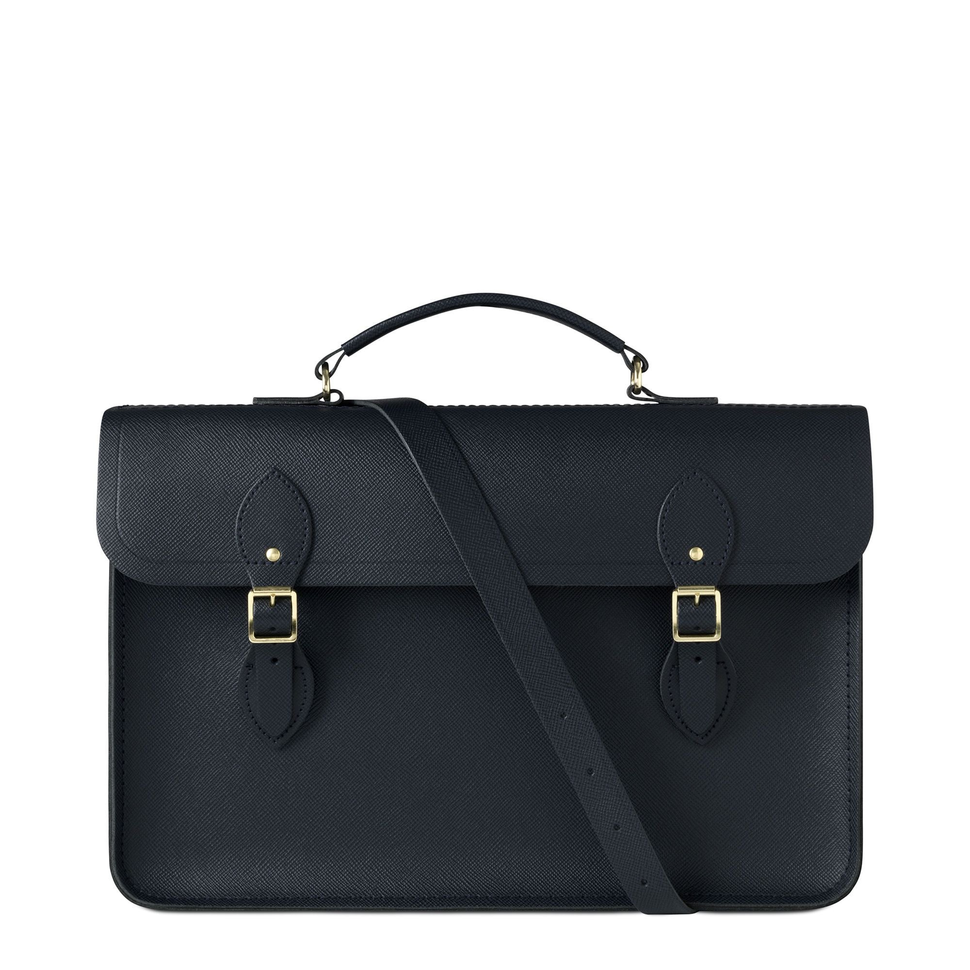 Large Briefcase in Saffiano Leather - Navy Saffiano