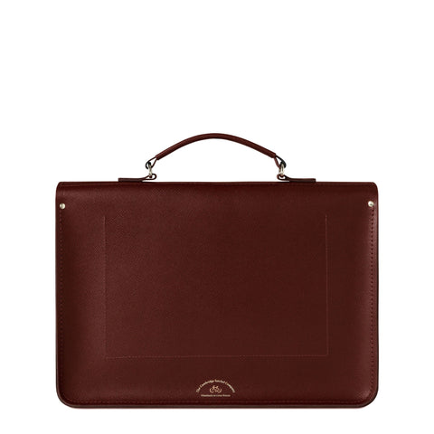 Large Briefcase in Saffiano Leather - Oxblood Saffiano