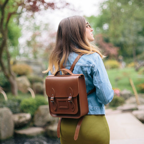 Small Portrait Backpack in Leather - Vintage