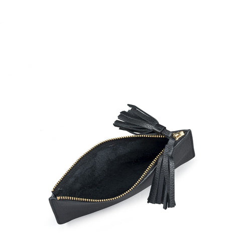 Flat Tassel Pouch in Grain Leather - Black Grain