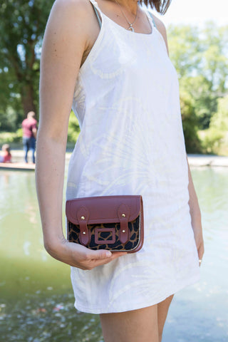 Tiny Satchel in Leather - Brandy & Giraffe Haircalf