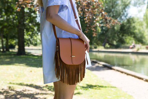 Saddle Bag in Leather - Canyon & Vintage Suede Fringing