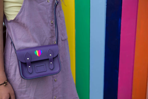 Tiny Satchel in Leather - Purple with Heart and CSC Logo in Rainbow Foil