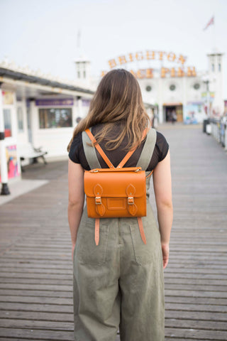 Barrel Backpack in Leather - Canyon