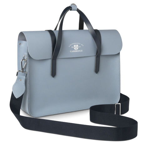 University of Cambridge Large Folio in Saffiano Leather - French Grey Saffiano & Navy