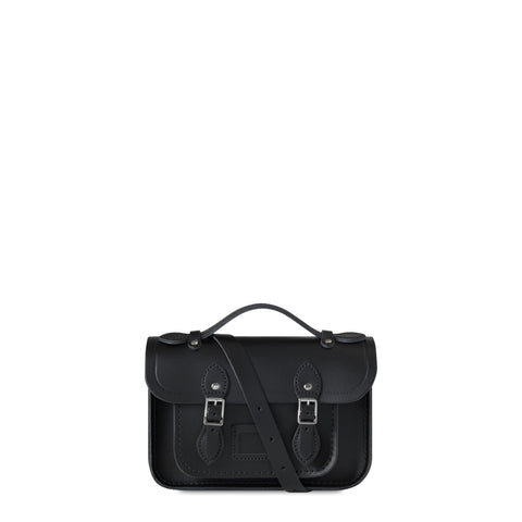 Magnetic Mini Satchel in Leather - Black
