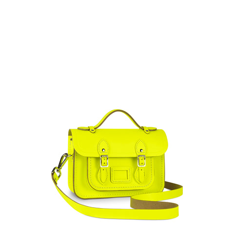 Magnetic Mini Satchel in Leather - Fluoro Yellow