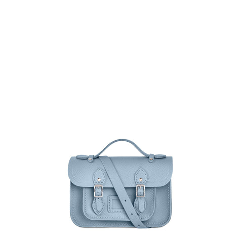 Magnetic Mini Satchel in Leather - French Grey Saffiano