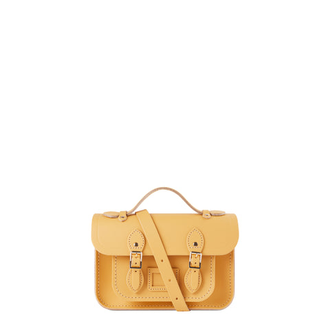 Magnetic Mini Satchel in Leather - Matte Indian Yellow
