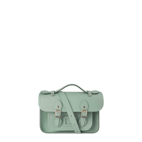 Magnetic Mini Satchel in Leather - Sabi Green