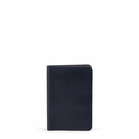 A6 Notebook in Leather - Navy Saffiano