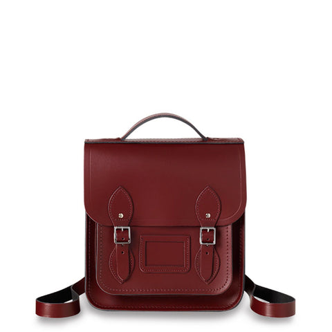 Small Portrait Backpack in Leather - Oxblood