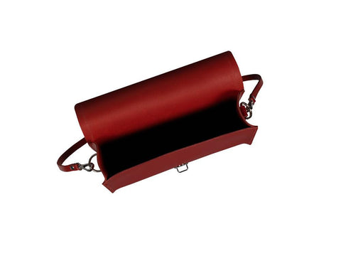 Large Push Lock in Leather - Red