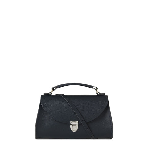 Mini Poppy Bag in Saffiano Leather - Navy Saffiano