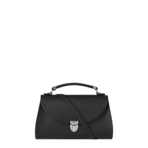 Mini Poppy Bag in Saffiano Leather - Black Saffiano