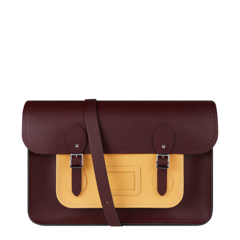15 inch Classic Satchel with Detachable Strap in Saffiano Leather - Oxblood Saffiano & Yellow