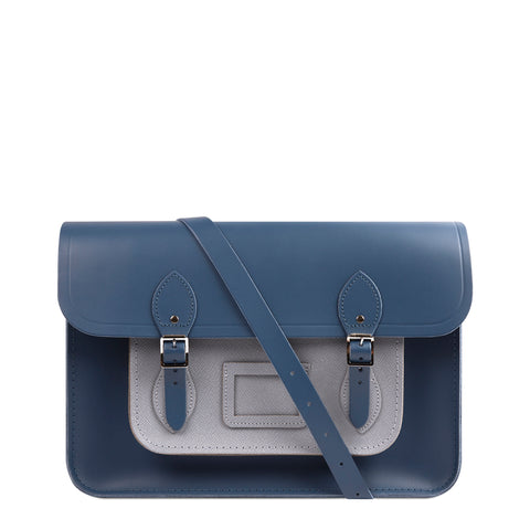 15 inch Classic Satchel with Detachable Strap in Saffiano Leather - Peacock & French Grey