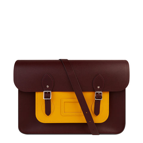 15 Inch Satchel with Detachable Strap in Saffiano Leather - Oxblood and Yellow Saffiano