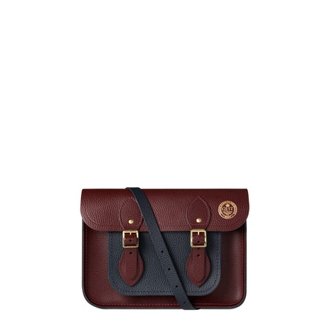 QEST 11 Inch Magnetic Satchel in Grain Leather - Oxblood & Navy