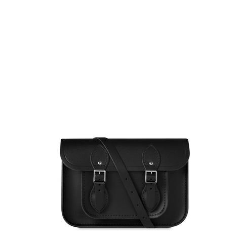 11 inch Magnetic Satchel in Leather - Black