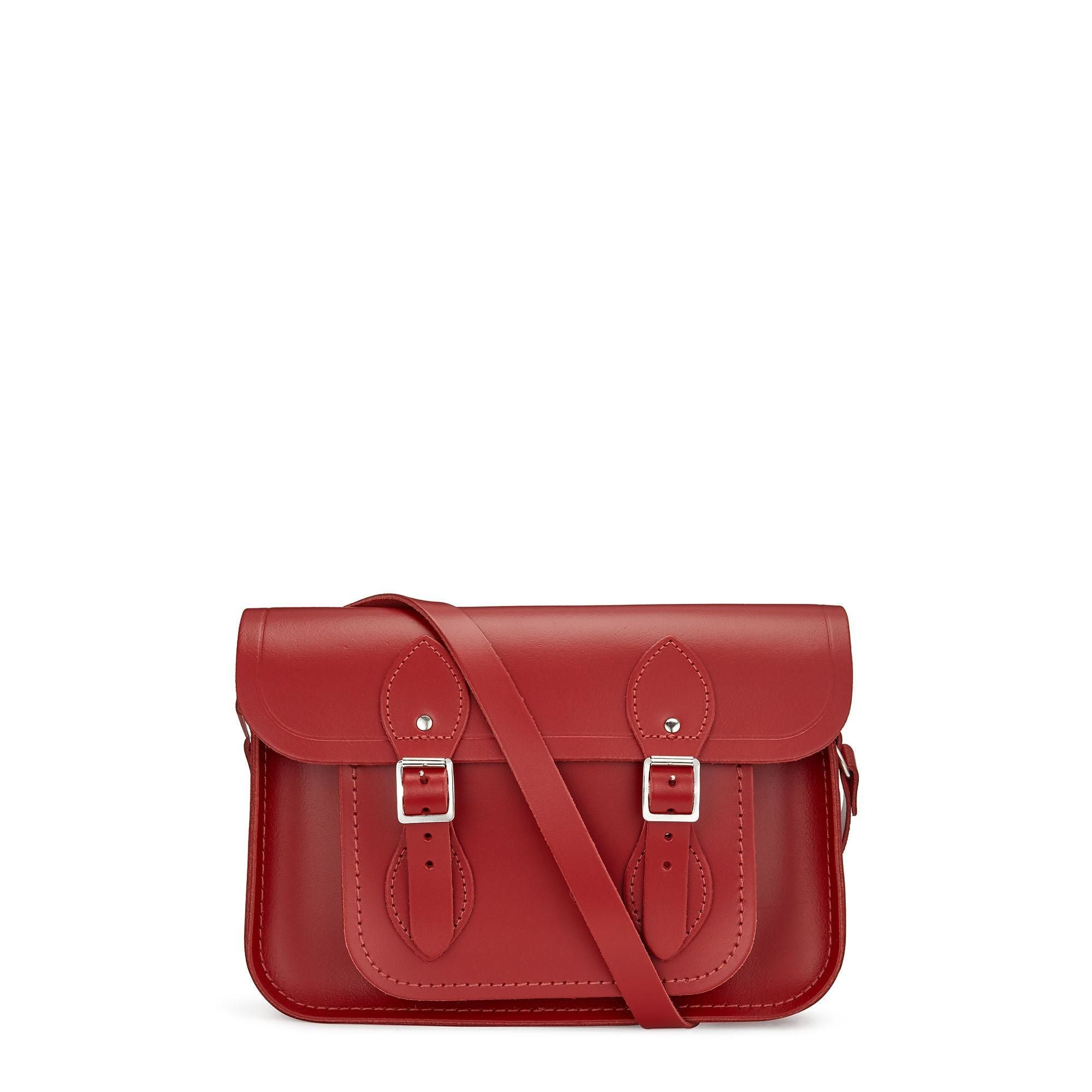 11 inch Classic Satchel in Leather - Red
