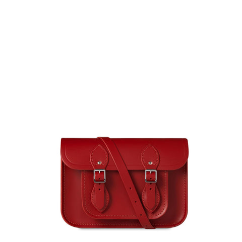 11 inch Magnetic Satchel in Leather - Red