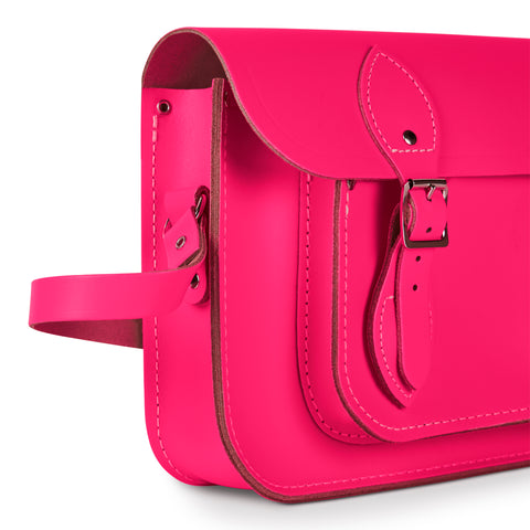 11 inch Magnetic Satchel in Leather - Fluoro Pink