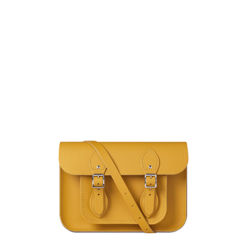 11 inch Magnetic Satchel in Leather - Mustard Matte