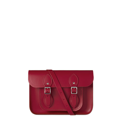 11 inch Magnetic Satchel in Leather - Crimson