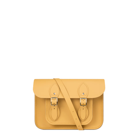 11 Inch Magnetic Satchel in Leather - Matte Indian Yellow