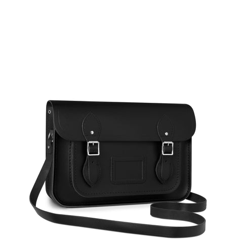 13 inch Magnetic Satchel in Leather - Black