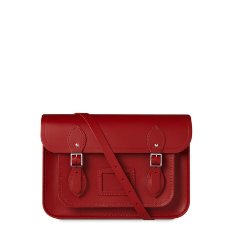 13 inch Magnetic Satchel in Leather - Red