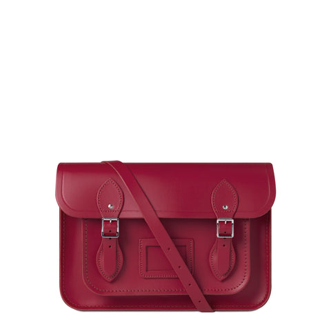 13 inch Magnetic Satchel in Leather - Crimson