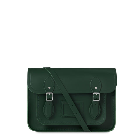 14 inch Magnetic Satchel in Leather - Racing Green