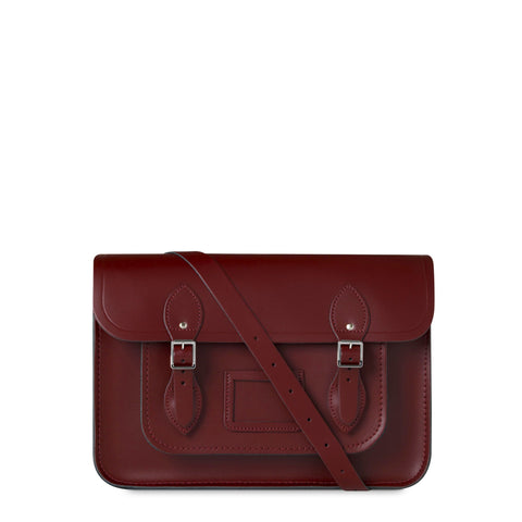 14 inch Magnetic Satchel in Leather - Oxblood