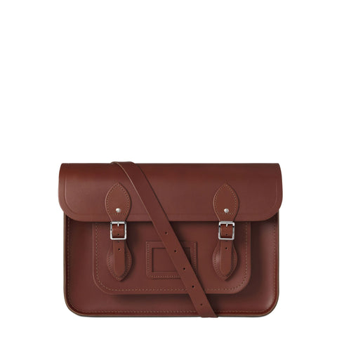 14 inch Magnetic Satchel in Leather - Brandy