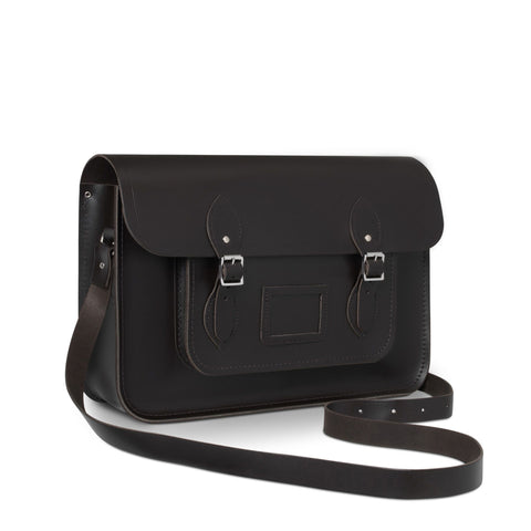 15 inch Classic Satchel in Leather - Dark Brown