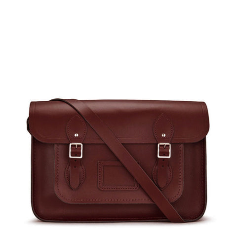 15 inch Classic Satchel in Leather - Oxblood