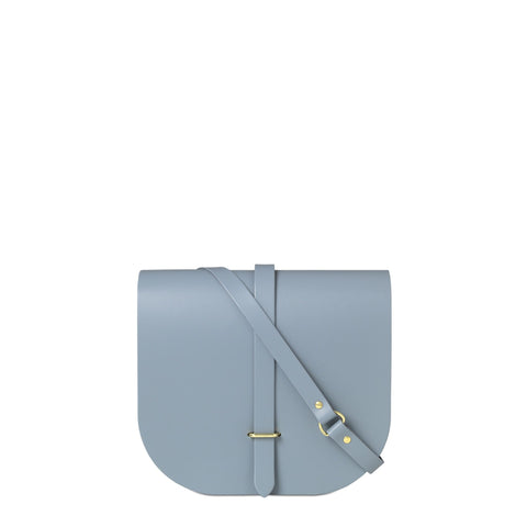 Large Saddle Bag in Leather - French Grey